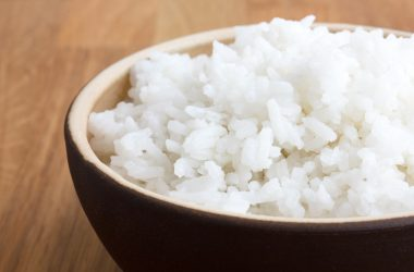 Rustic bowl of white rice